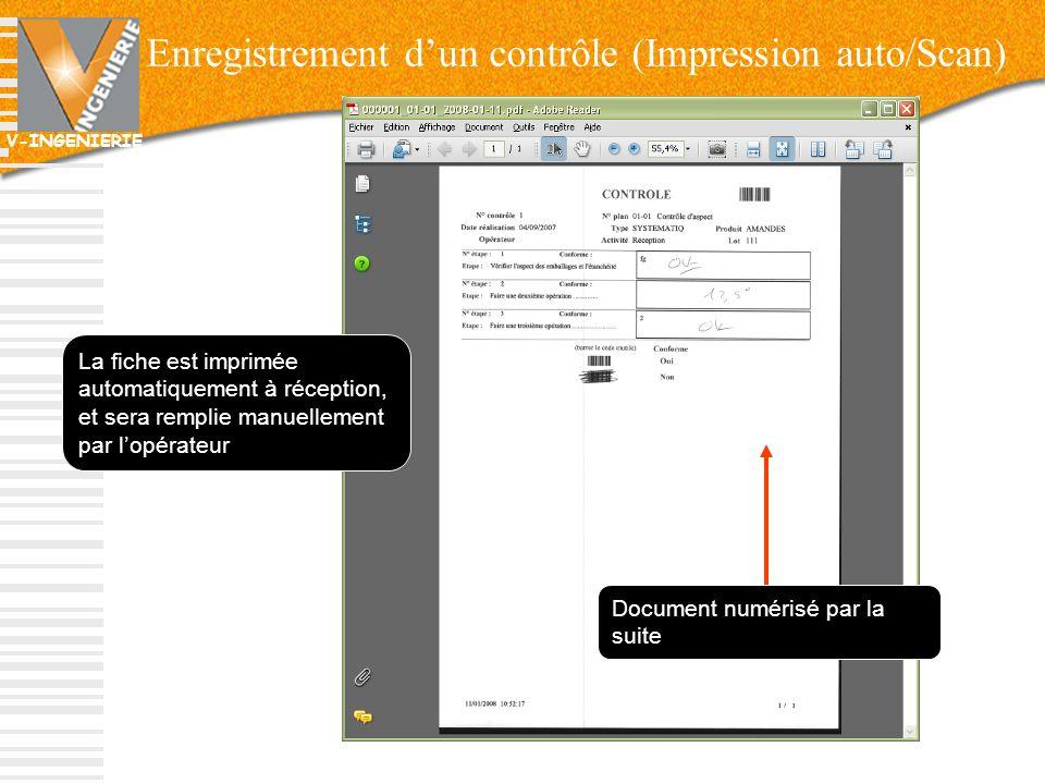 Enregistrement d'un contrôle (Impression auto/Scan)
