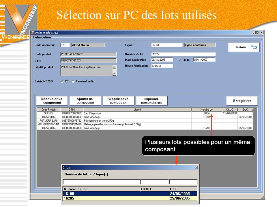 Sélection sur PC des lots utilisés