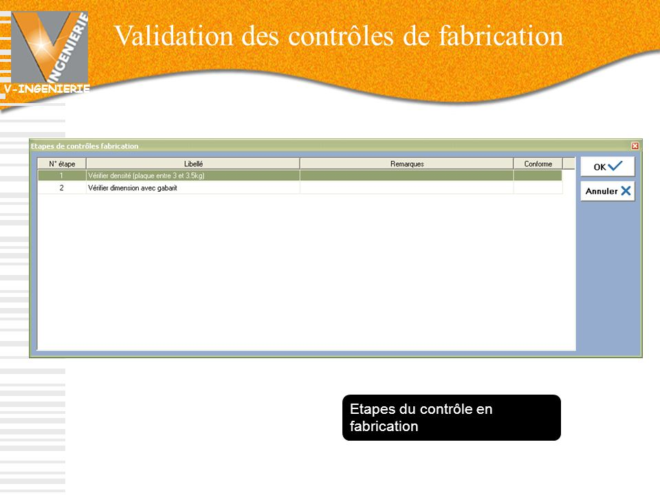 Validation des contrôles de fabrication