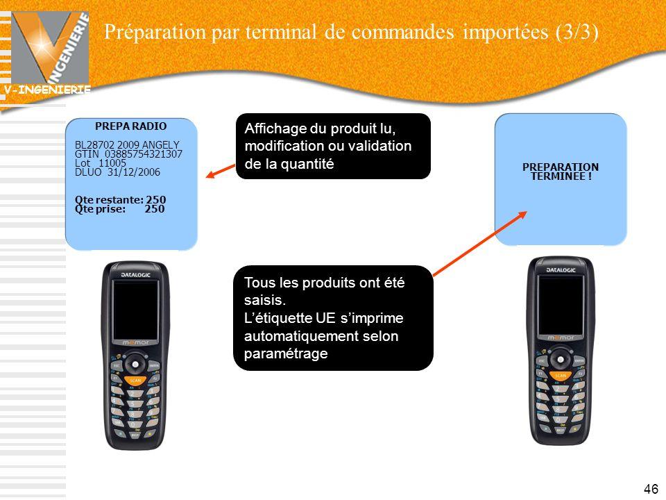 Préparation par terminal de commandes importées (3/3)