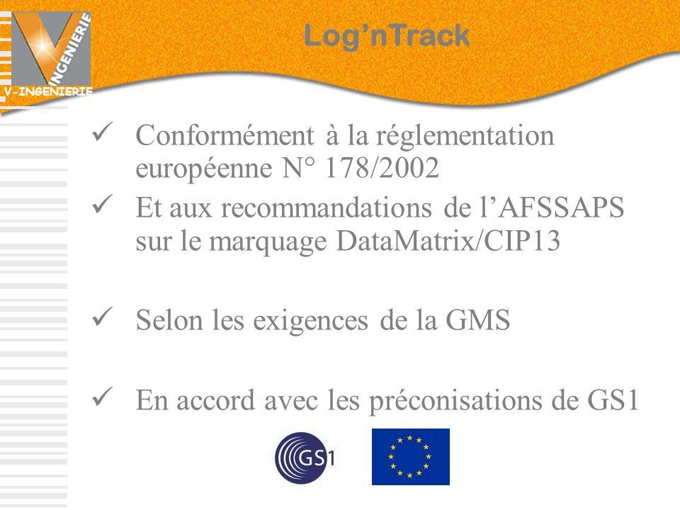 Log'nTrack Conformément à la réglementation européenne N° 178/2002. Et aux recommandations de l'AFSSAPS sur le marquage DataMatrix/CIP13.