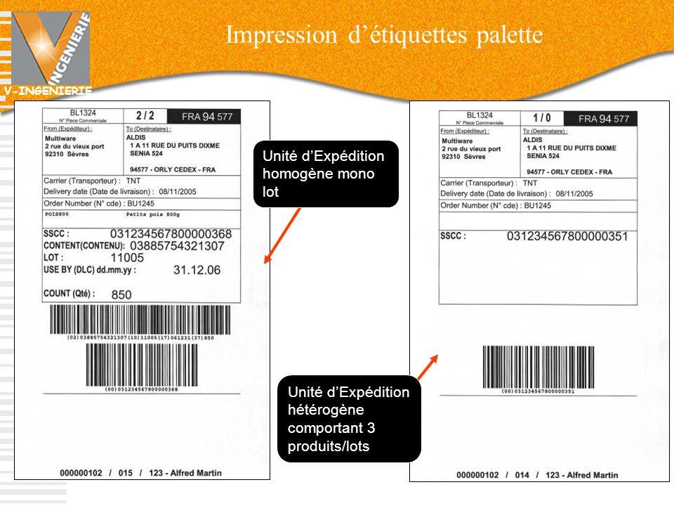 Impression d'étiquettes palette