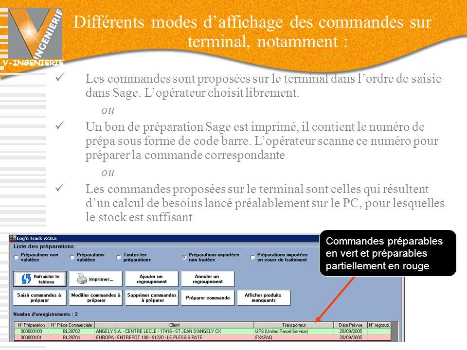 Différents modes d'affichage des commandes sur terminal, notamment :