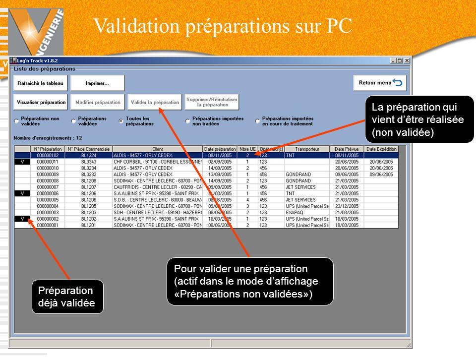 Validation préparations sur PC