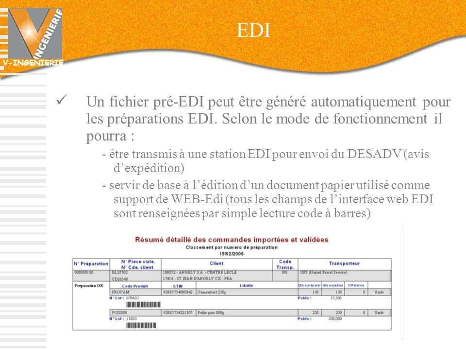 EDI Un fichier pré-EDI peut être généré automatiquement pour les préparations EDI. Selon le mode de fonctionnement il pourra :