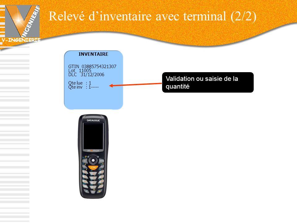 Relevé d'inventaire avec terminal (2/2)