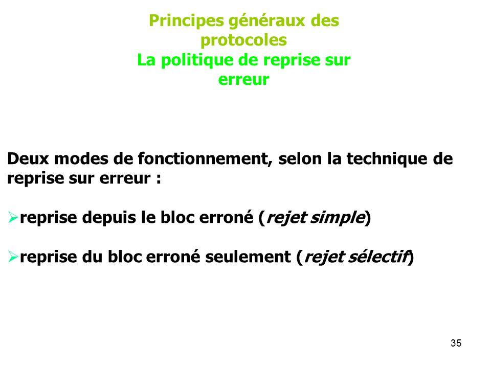 Principes généraux des protocoles La politique de reprise sur erreur