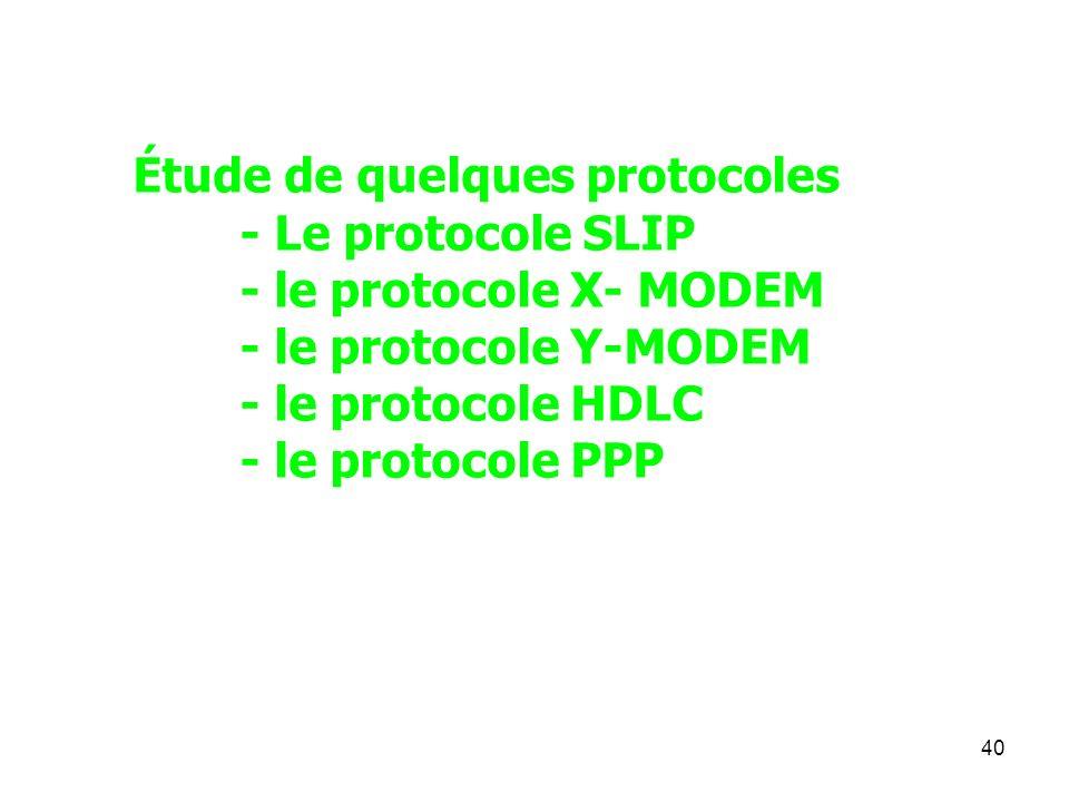 Étude de quelques protocoles