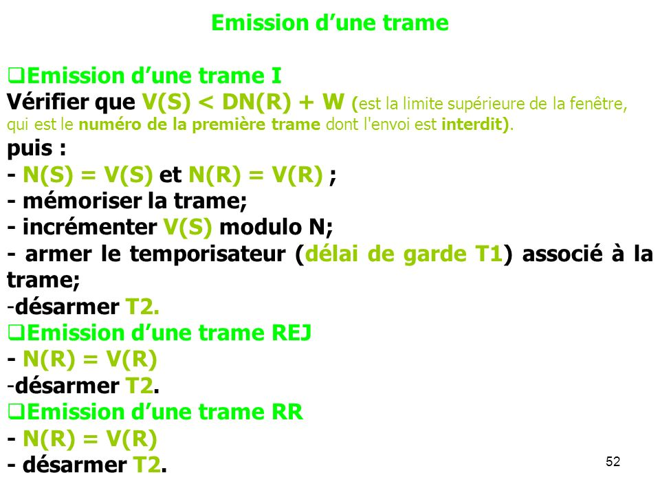 Emission d'une trameEmission d'une trame I.