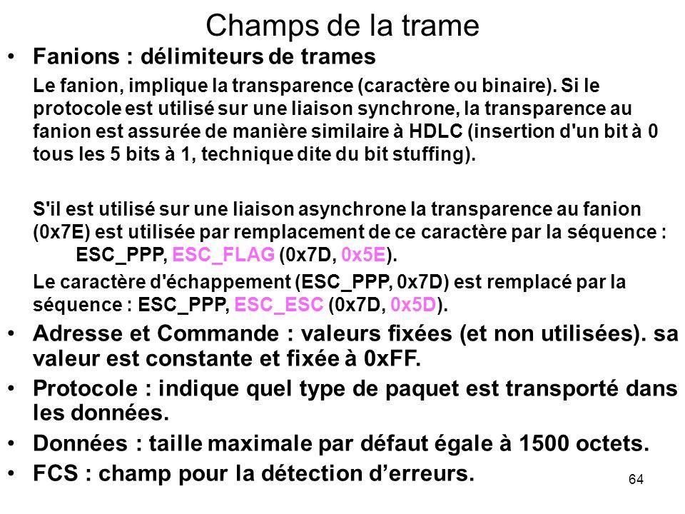 Champs de la trame Fanions : délimiteurs de trames