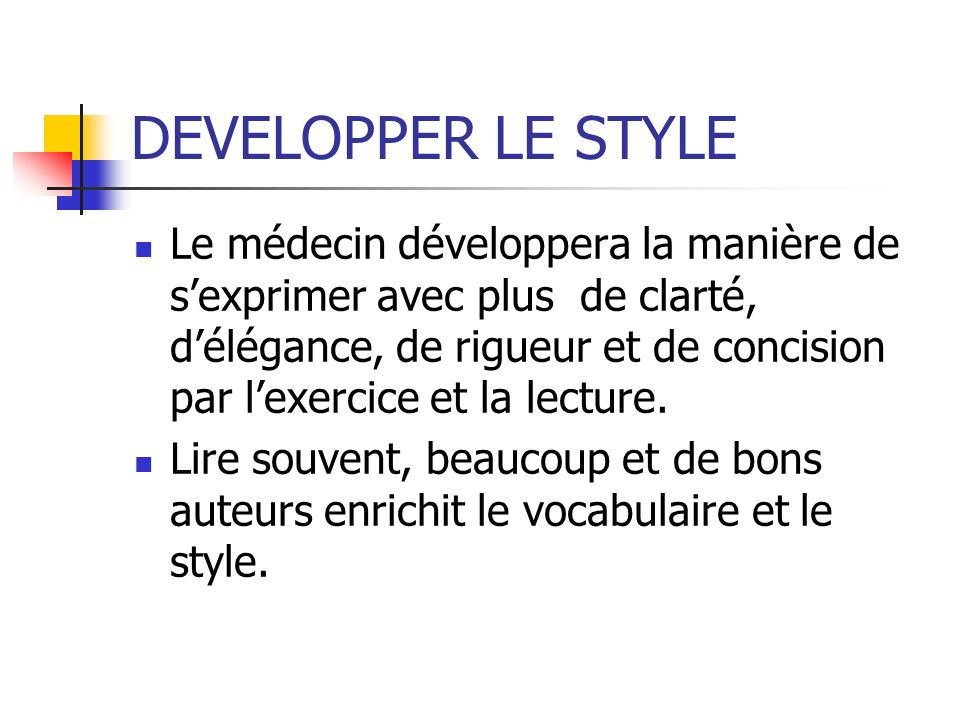 DEVELOPPER LE STYLE