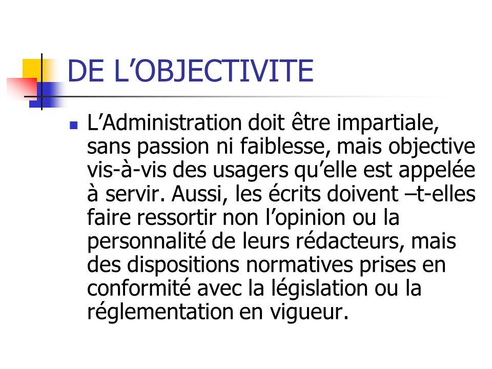 DE L'OBJECTIVITE