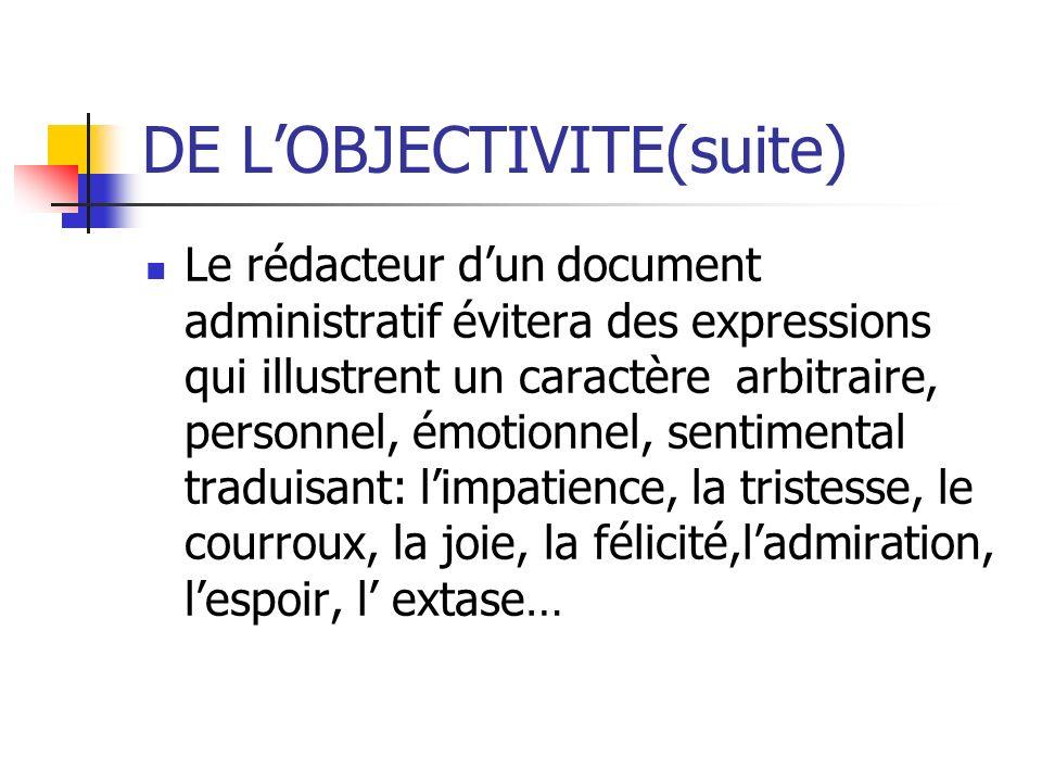 DE L'OBJECTIVITE(suite)