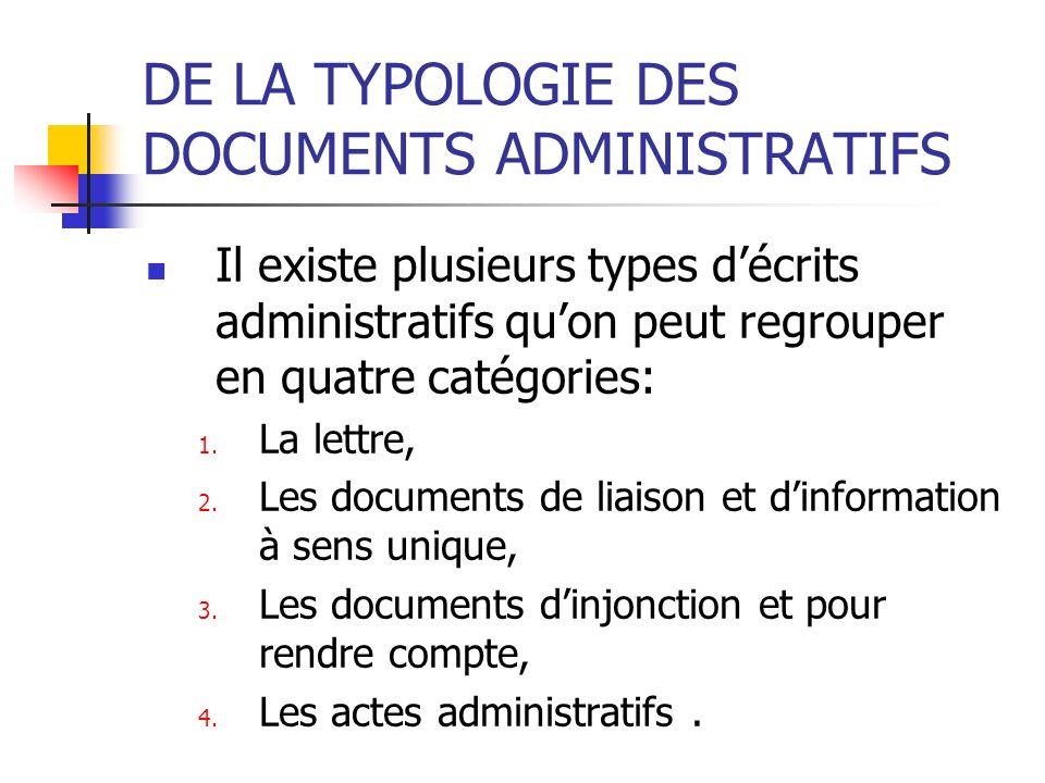 DE LA TYPOLOGIE DES DOCUMENTS ADMINISTRATIFS