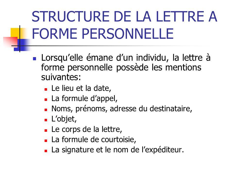 STRUCTURE DE LA LETTRE A FORME PERSONNELLE