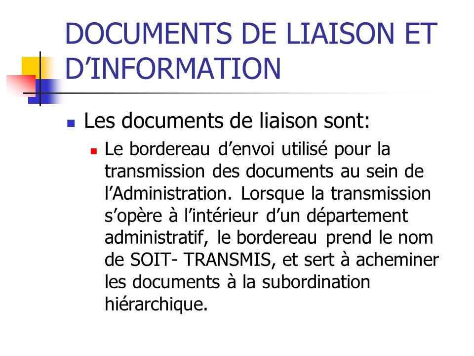 DOCUMENTS DE LIAISON ET D'INFORMATION