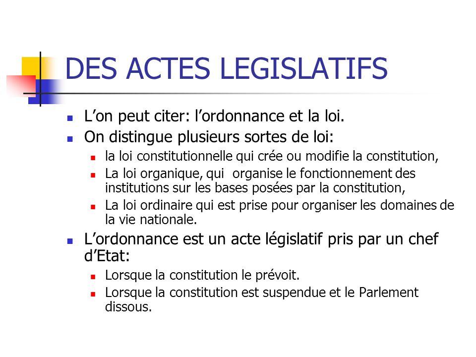 DES ACTES LEGISLATIFS L'on peut citer: l'ordonnance et la loi.