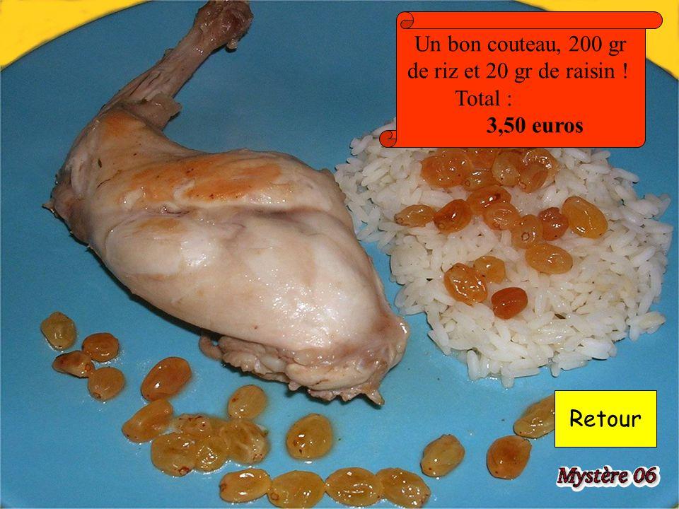Un bon couteau, 200 gr de riz et 20 gr de raisin ! Total : 3,50 euros Retour