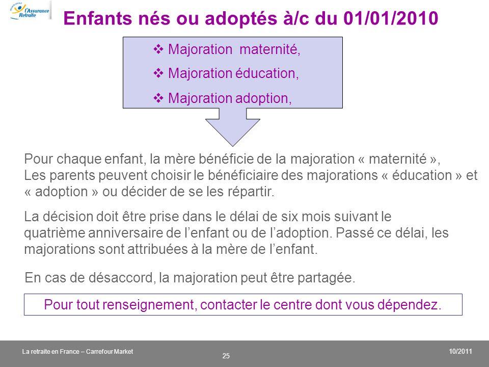 Enfants nés ou adoptés à/c du 01/01/2010