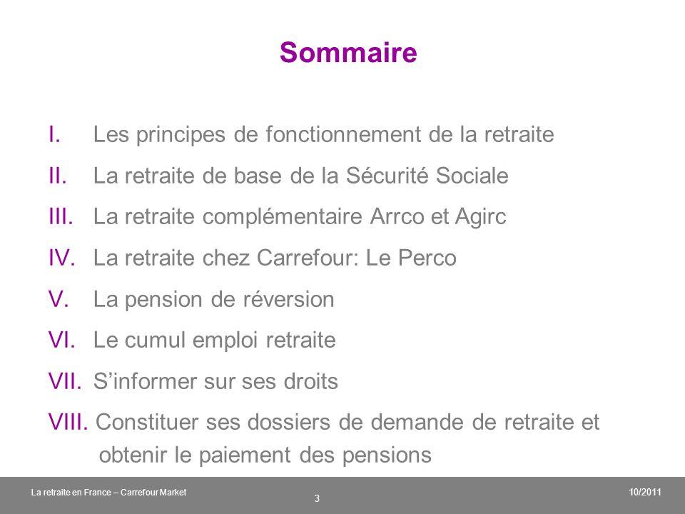 Sommaire Les principes de fonctionnement de la retraite