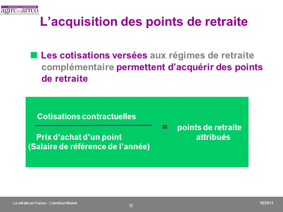 L'acquisition des points de retraite