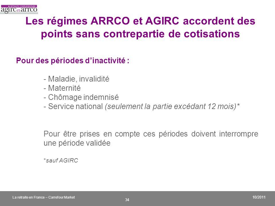 Les régimes ARRCO et AGIRC accordent des points sans contrepartie de cotisations
