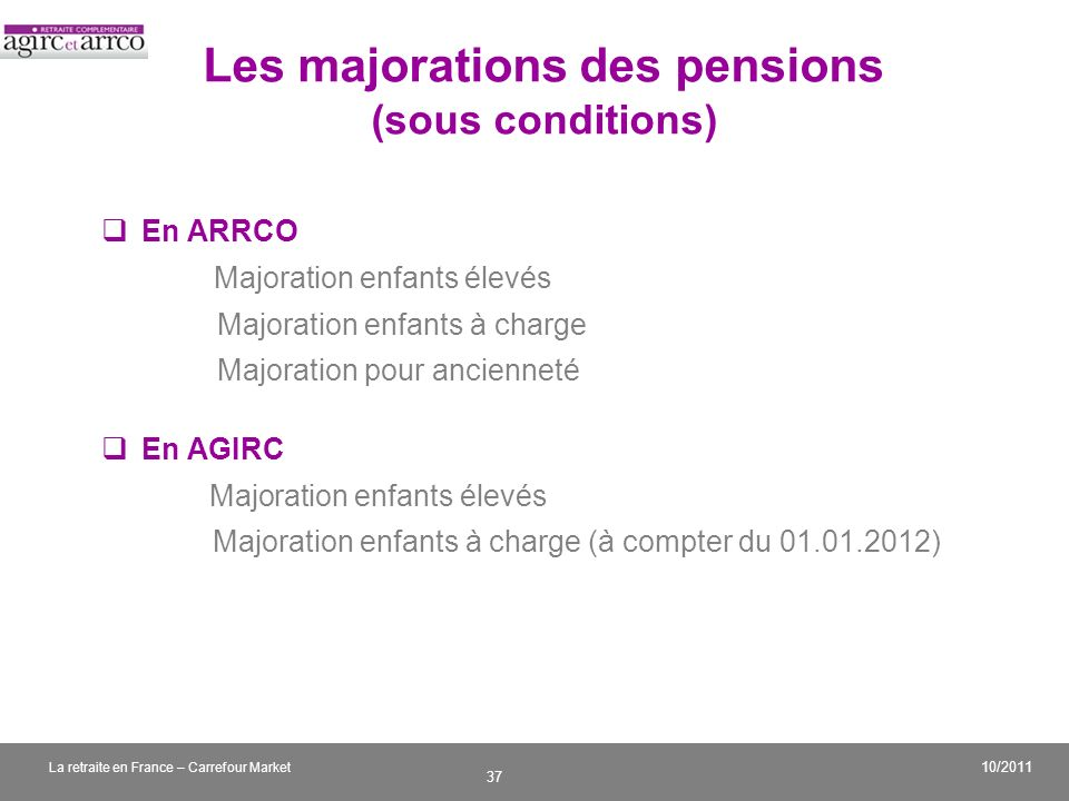 Les majorations des pensions (sous conditions)