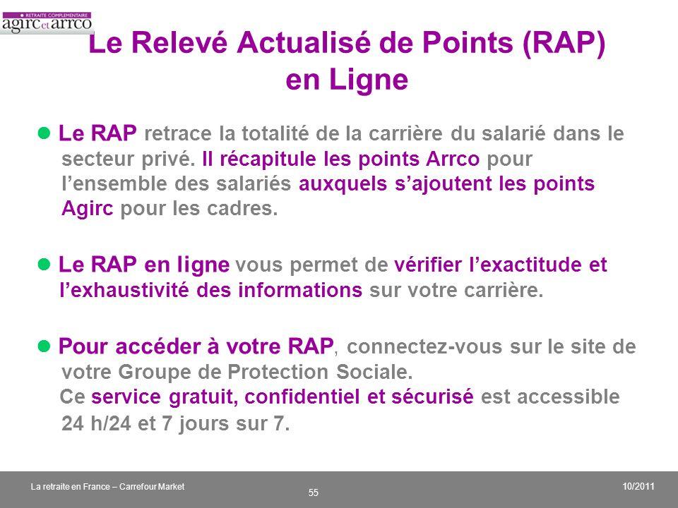 Le Relevé Actualisé de Points (RAP) en Ligne