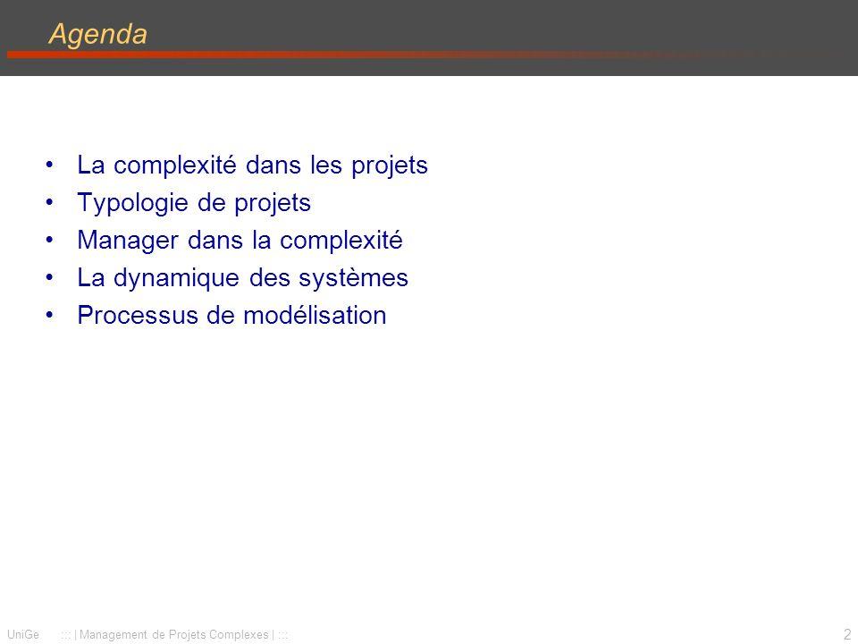 Agenda La complexité dans les projets Typologie de projets