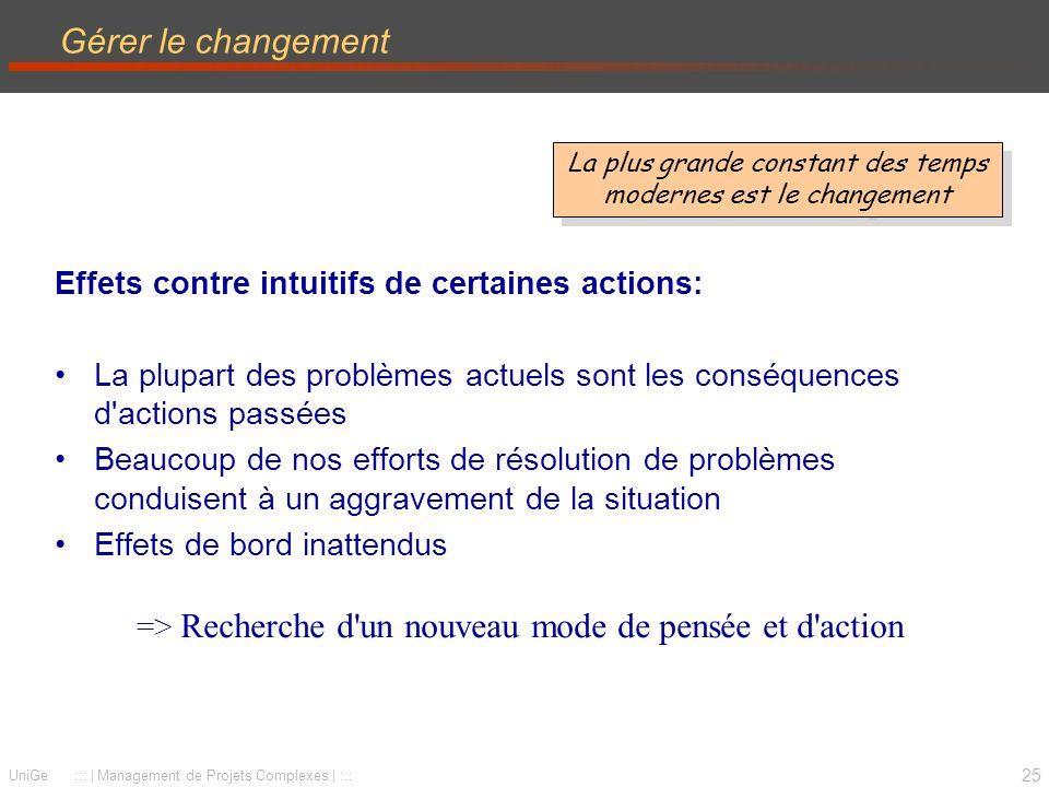 Gérer le changement Effets contre intuitifs de certaines actions: