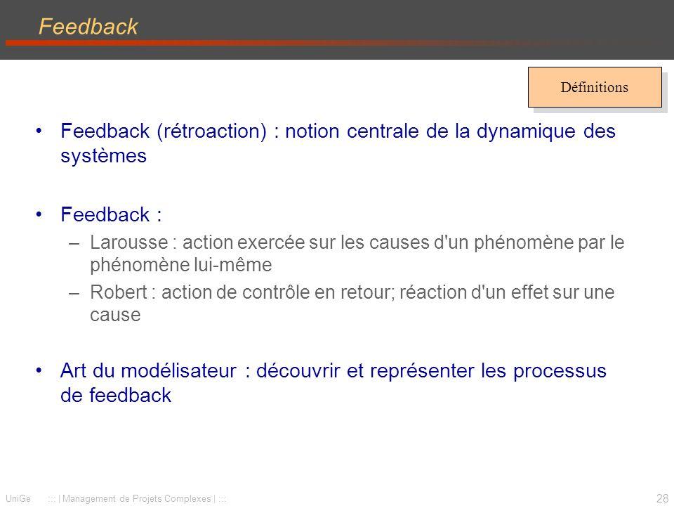 Feedback Définitions. Feedback (rétroaction) : notion centrale de la dynamique des systèmes. Feedback :