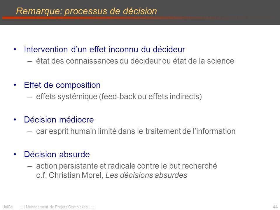 Remarque: processus de décision
