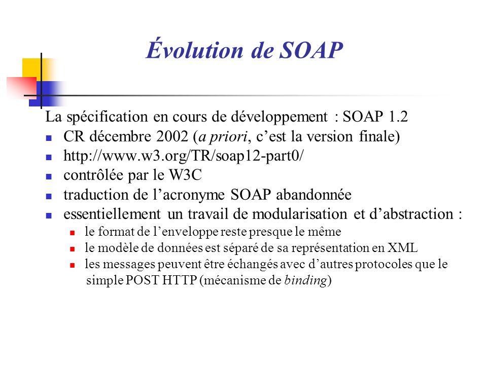 Évolution de SOAP La spécification en cours de développement : SOAP 1.2. CR décembre 2002 (a priori, c'est la version finale)