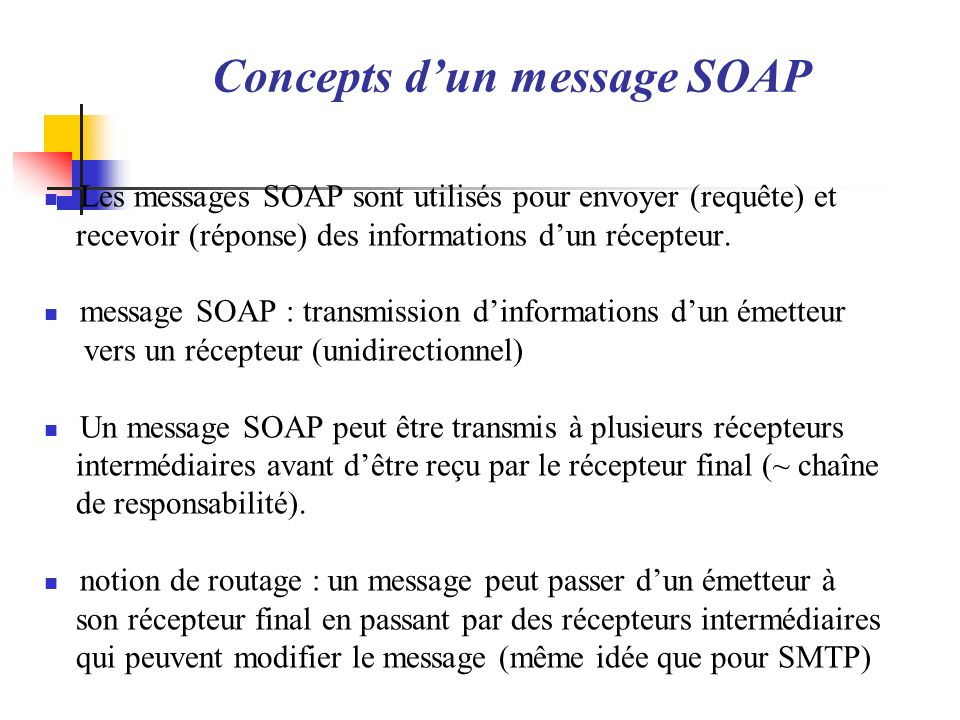 Concepts d'un message SOAP