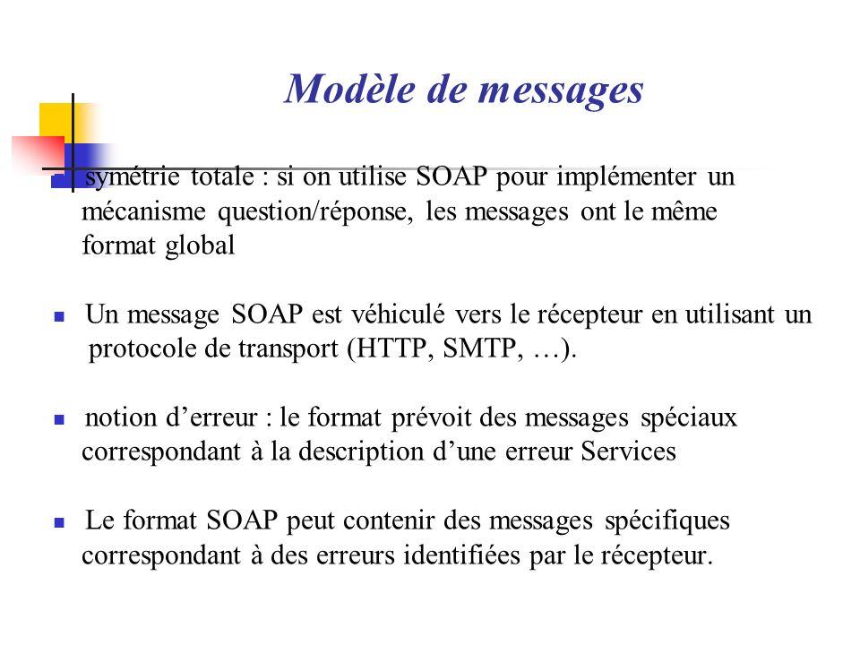 Modèle de messagessymétrie totale : si on utilise SOAP pour implémenter un. mécanisme question/réponse, les messages ont le même.