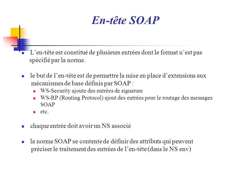 En-tête SOAP L'en-tête est constitué de plusieurs entrées dont le format n'est pas. spécifié par la norme.