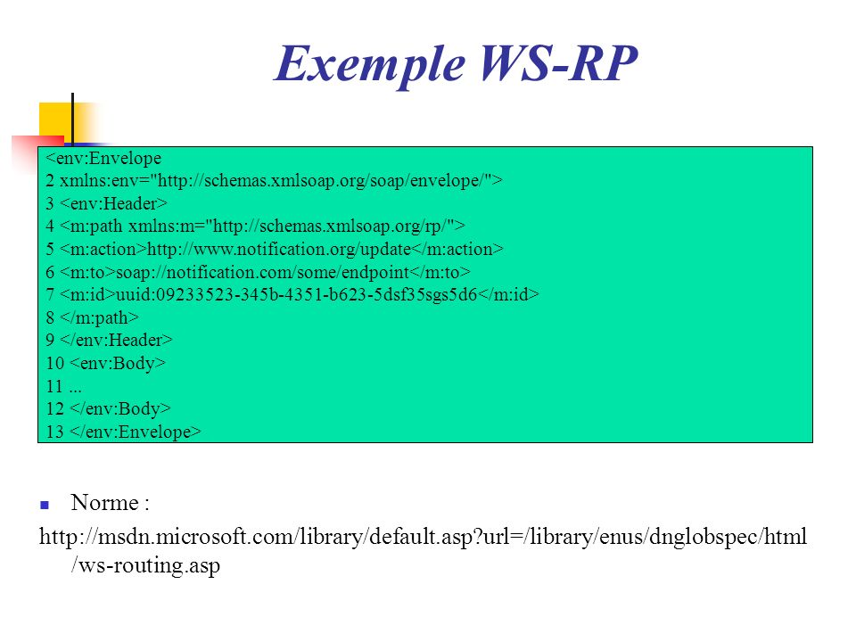 Exemple WS-RP<env:Envelope. 2 xmlns:env= http://schemas.xmlsoap.org/soap/envelope/ > 3 <env:Header>