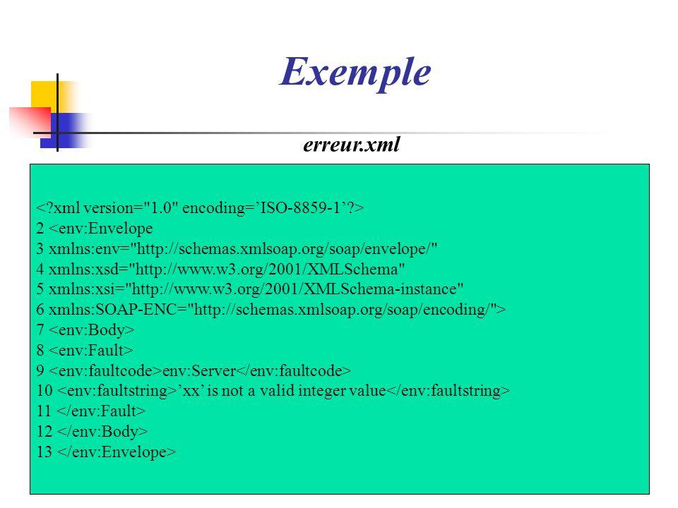 Exemple erreur.xml < xml version= 1.0 encoding='ISO-8859-1' >