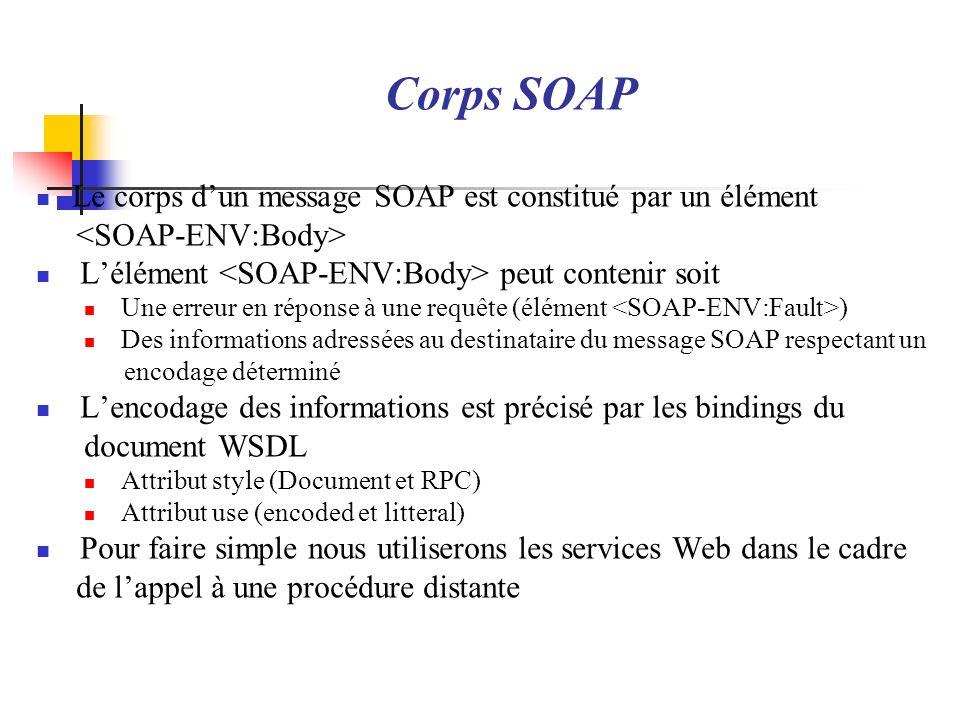 Corps SOAP Le corps d'un message SOAP est constitué par un élément