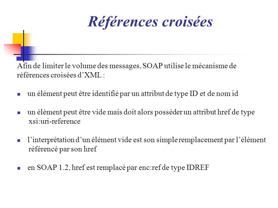 Références croiséesAfin de limiter le volume des messages, SOAP utilise le mécanisme de. références croisées d'XML :