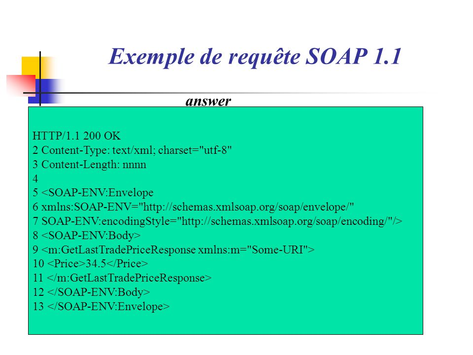 Exemple de requête SOAP 1.1