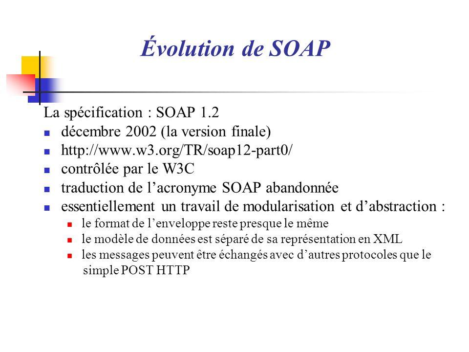 Évolution de SOAP La spécification : SOAP 1.2