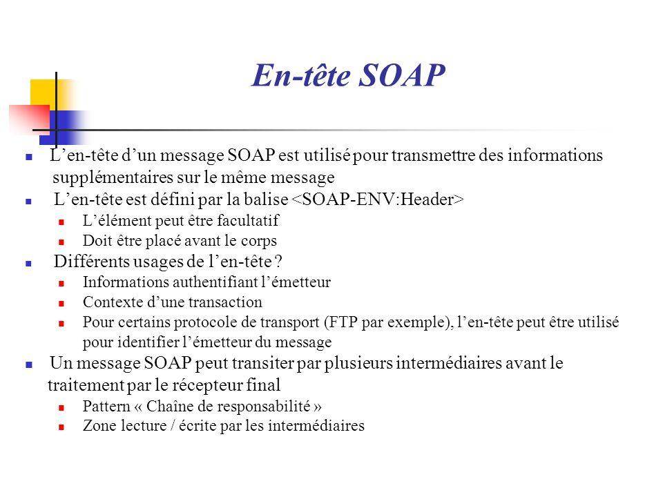 En-tête SOAPL'en-tête d'un message SOAP est utilisé pour transmettre des informations. supplémentaires sur le même message.