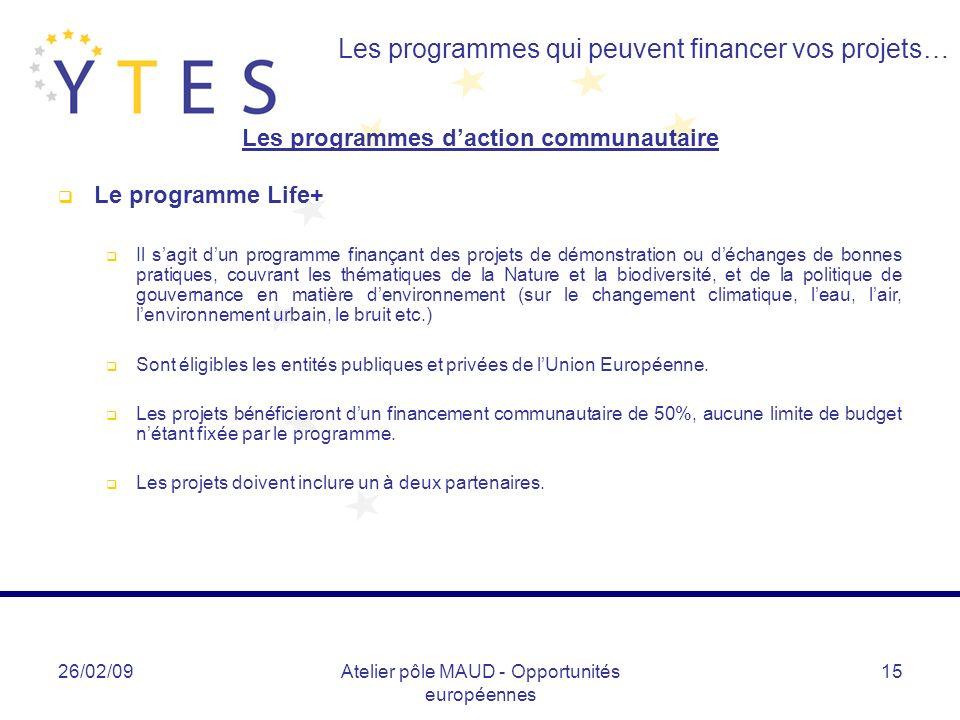 Les programmes d'action communautaire