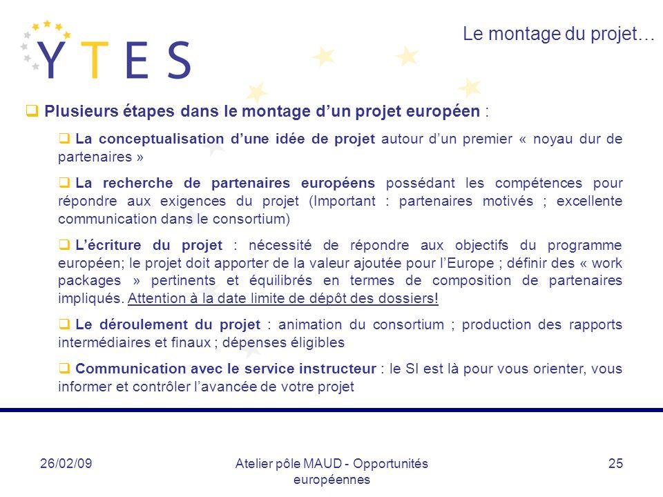 Atelier pôle MAUD - Opportunités européennes