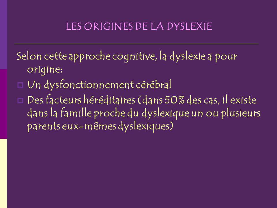 LES ORIGINES DE LA DYSLEXIE