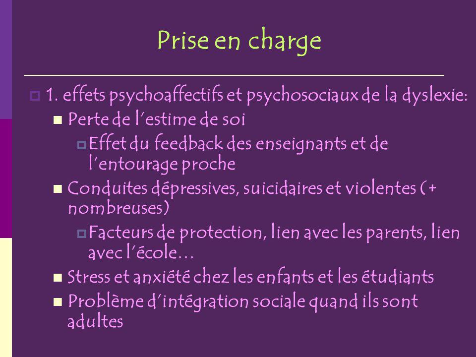 Prise en charge 1. effets psychoaffectifs et psychosociaux de la dyslexie: Perte de l'estime de soi.