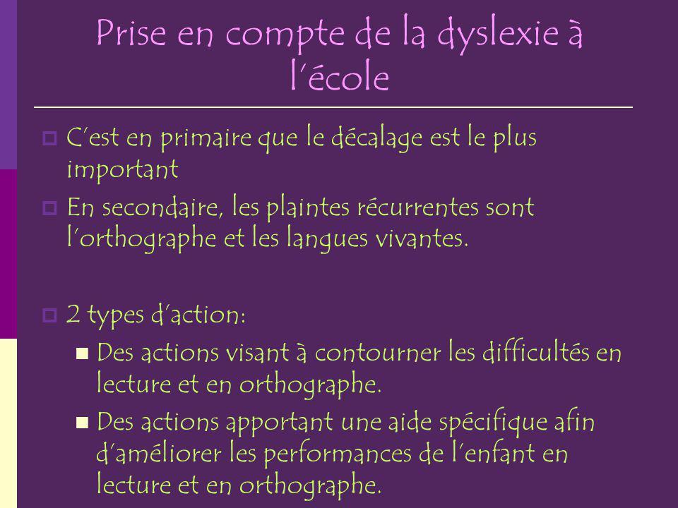 Prise en compte de la dyslexie à l'école