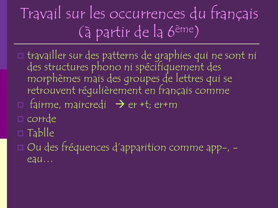 Travail sur les occurrences du français (à partir de la 6ème)