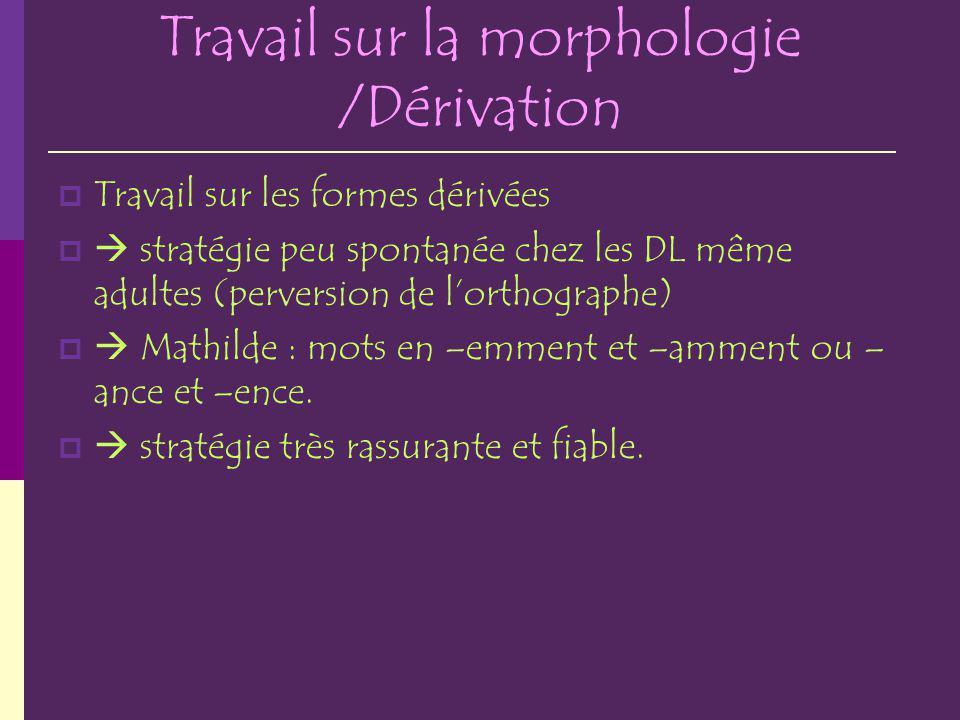 Travail sur la morphologie /Dérivation
